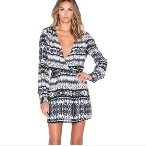 Parker Printed Open Back Silk Long Sleeve Dress
